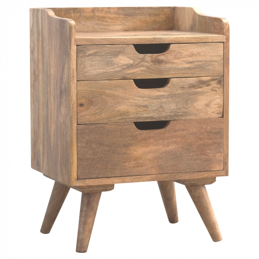 Mango Hill 3 Drawer Solid Wood Bedside Table