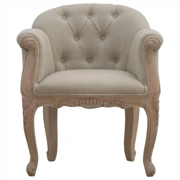 Mango Hill French Carved Mud Linen Accent Chair