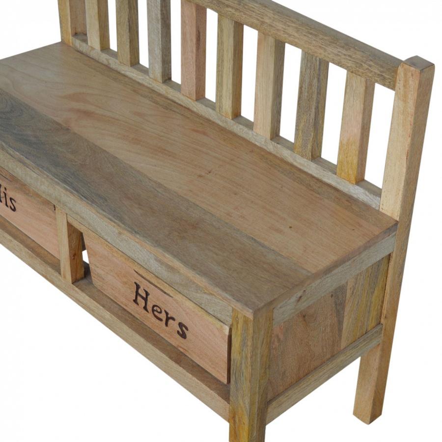 Mango Hill His & Her Wood Storage Hallway Bench
