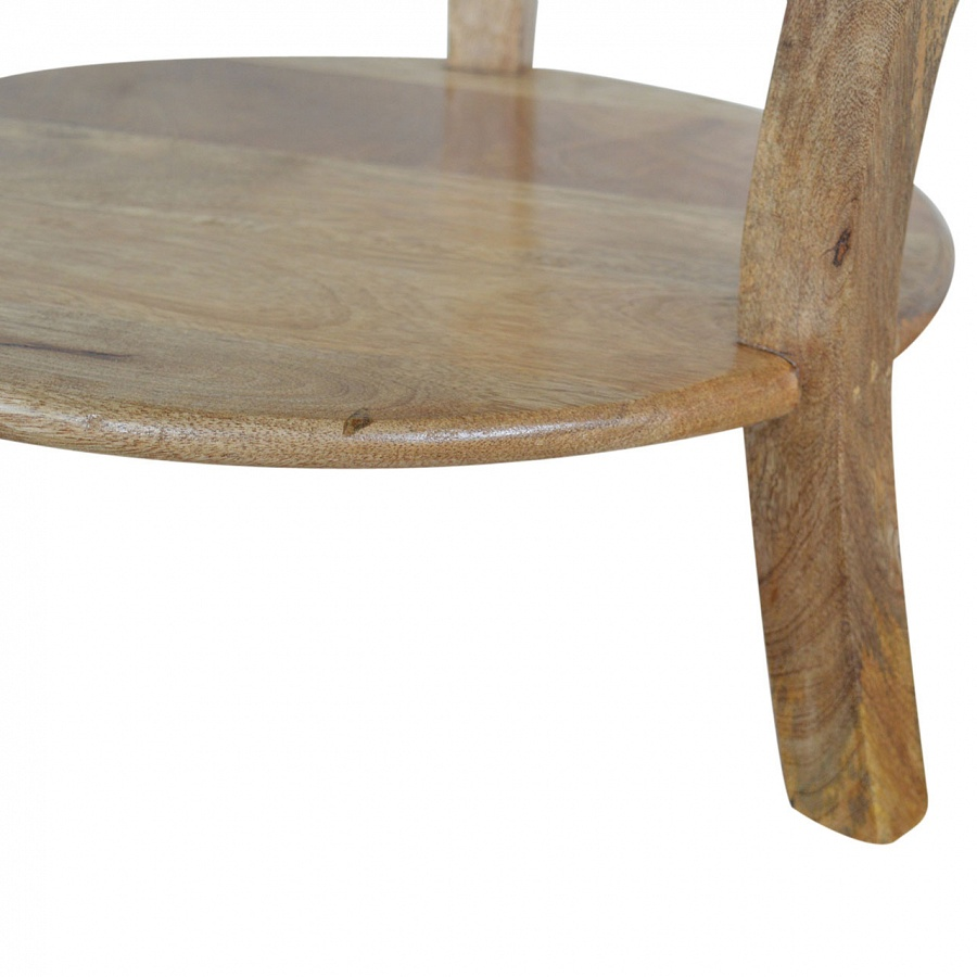 Mango Hill Round Side Table with Drawer and Shelf