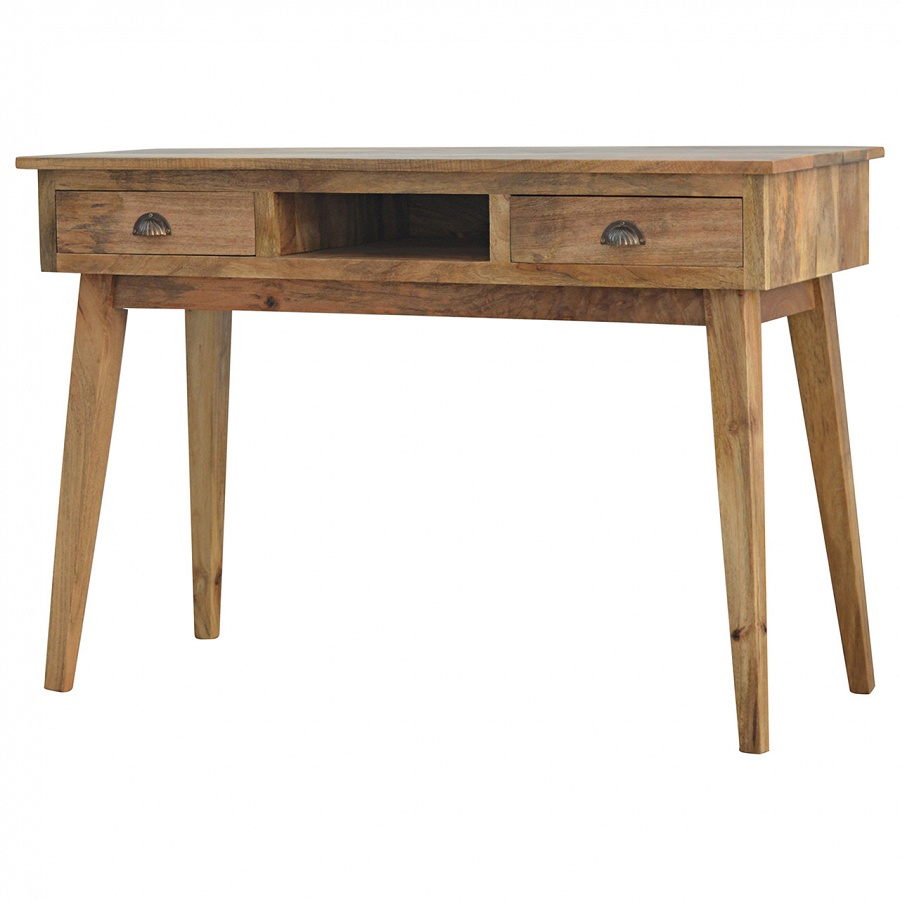 Mango Hill Writing Desk with 2 Drawers and Open Slot