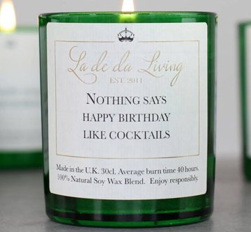POP Candle – 'Nothing Says Happy Birthday Like Cocktails'