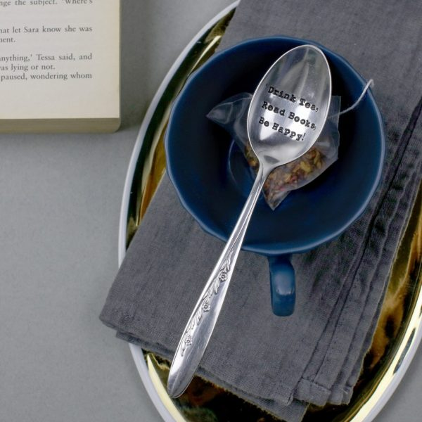 Teaspoon - 'Drink Tea, Read Books, Be Happy'