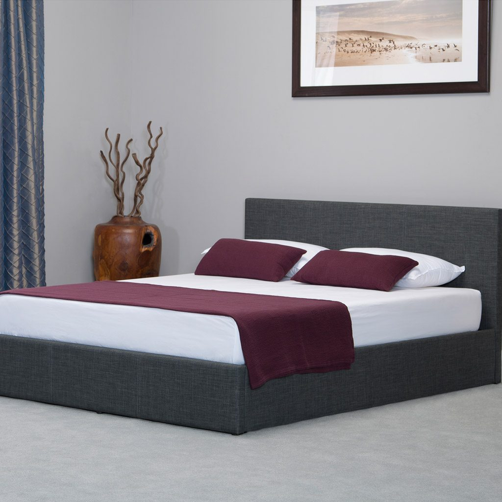 Grey Fabric Ottoman King Size Bed