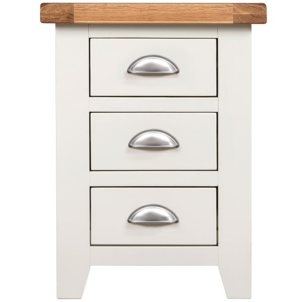 Willow White 3 Drawer Bedside Table