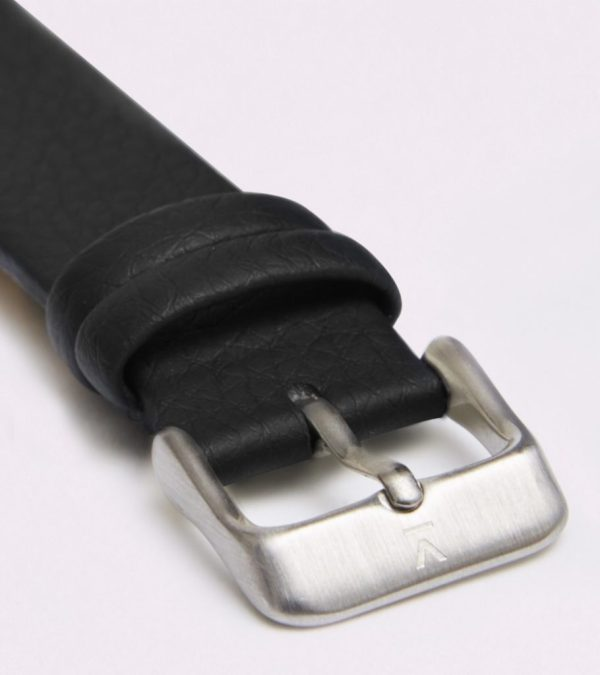 Black With Brushed Silver Buckle | 18MM
