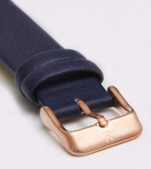 Navy With Brushed Rose Gold Buckle   18MM