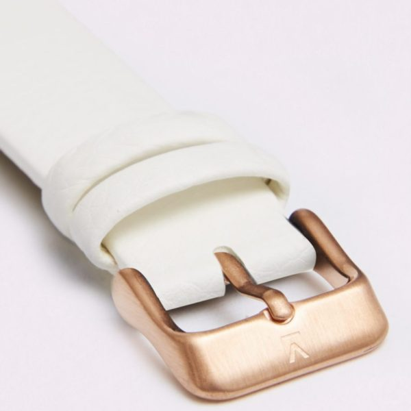 Off White With Brushed Rose Gold Buckle | 18MM