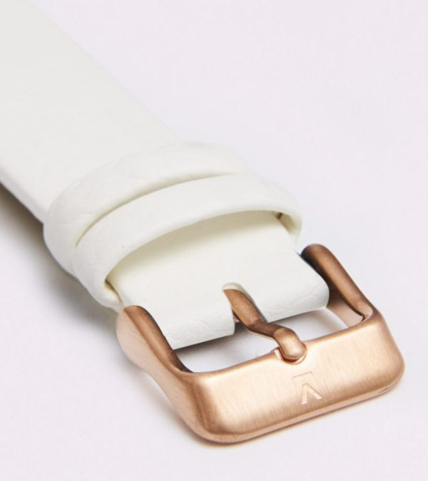 Off White With Brushed Rose Gold Buckle   18MM