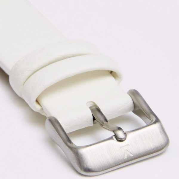 Off White With Brushed Silver Buckle | 18MM
