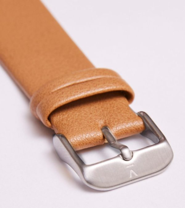 Tan With Brushed Silver Buckle   20MM