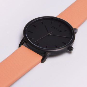 The All Black Face With Coral Strap