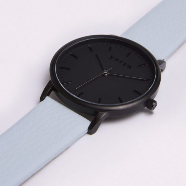 The All Black Face With Light Blue Strap