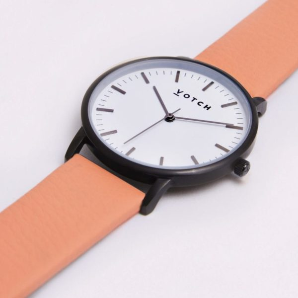 The Black & White Face With Coral Strap