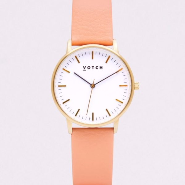 The Gold Face With Coral Strap