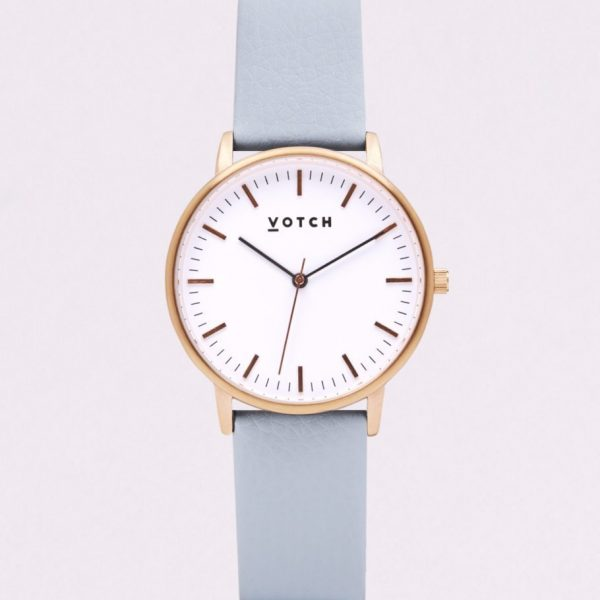 The Rose Gold Face With Light Blue Strap