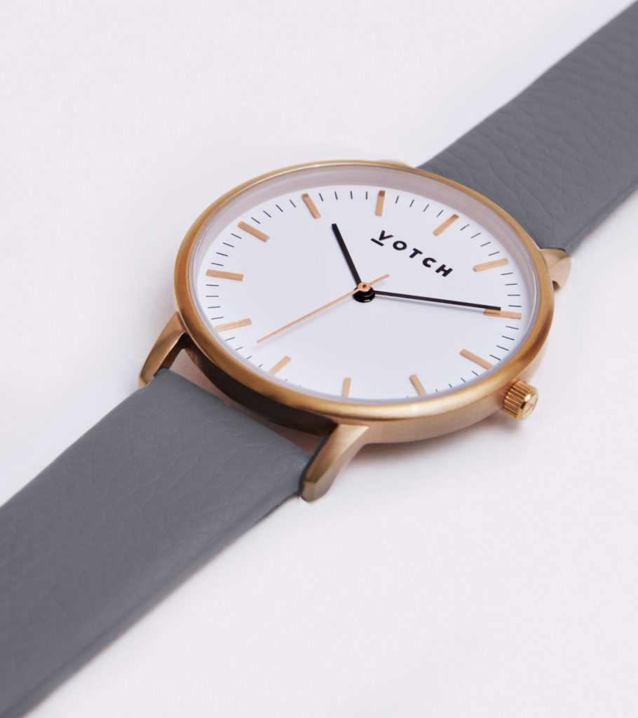 The Rose Gold Face With Slate Grey Strap