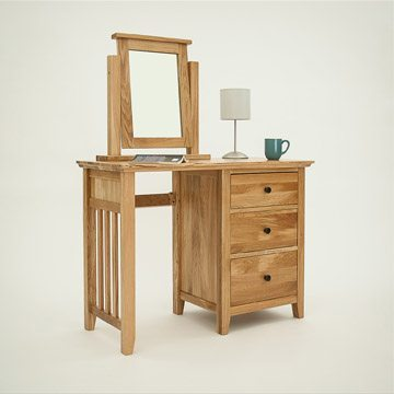 Hereford Rustic Oak Single Pedestal Dressing Table