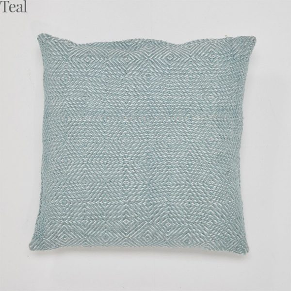 Lightweight Diamond Teal Cushion