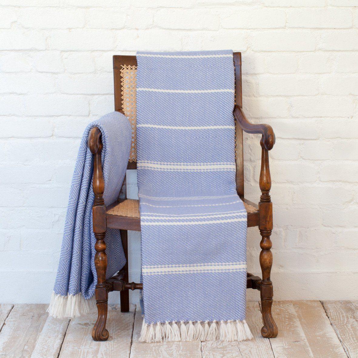 Oxford Stripe Cobalt Blanket 3