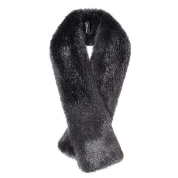 Charcoal Faux Fur Long Tippet Scarf