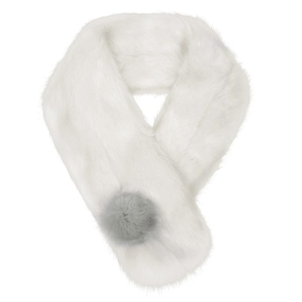 Ermine Faux Fur Pom Button Scarf