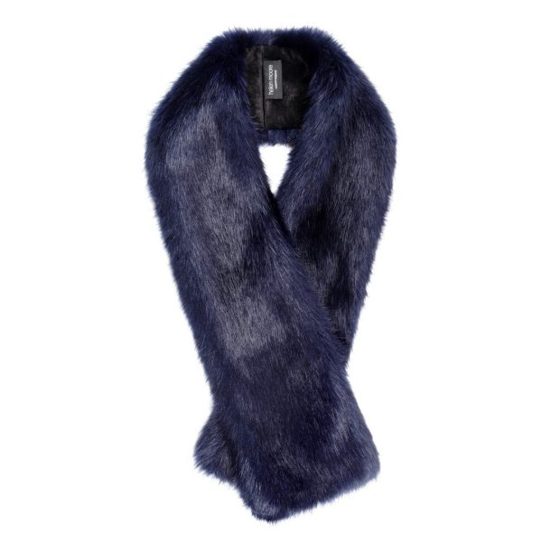 Midnight Faux Fur Long Tippet Scarf
