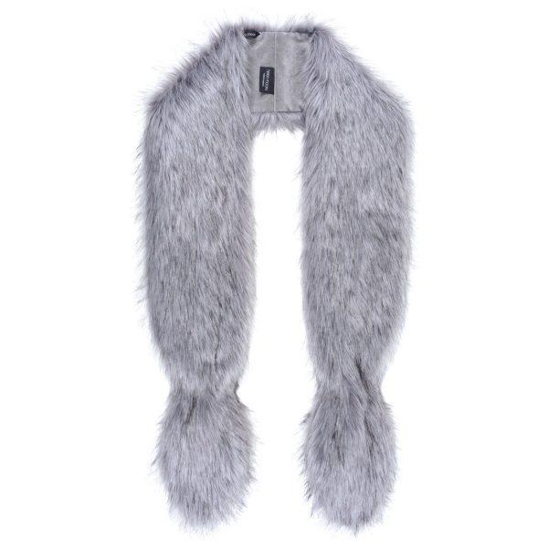 Silver Faux Fur Slim Vixen Scarf