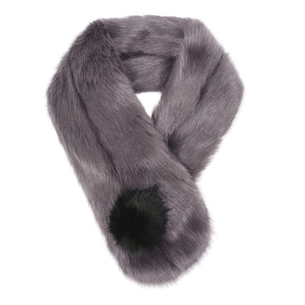 Steel Faux Fur Pom Button Scarf