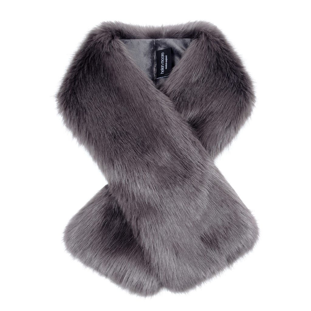 Steel Faux Fur Tippet Scarf