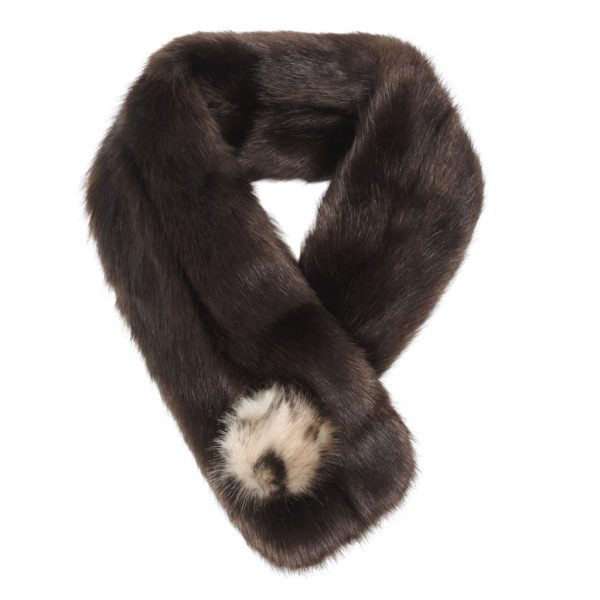 Treacle Faux Fur Pom Button Scarf