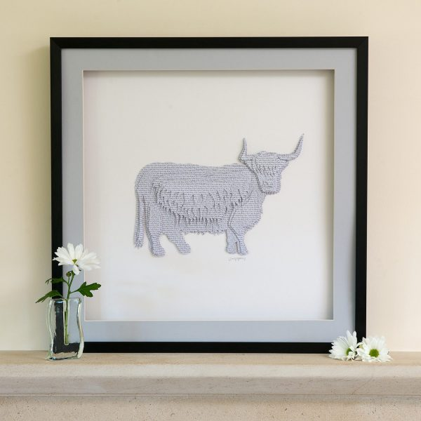 Grey 'King Of The Cattle' Highland Cow Framed Picture