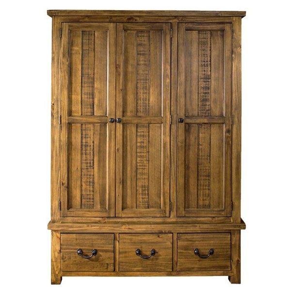 Gresford Rustic 3 Door 3 Drawer Wardrobe