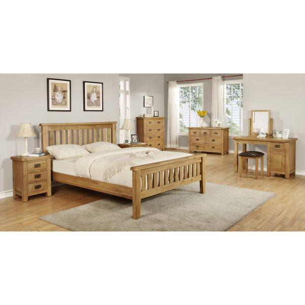 Harvard Oak 3 Drawer Bedside