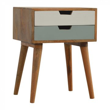 Mango Hill 2 Drawer Hand Painted Bedside Table