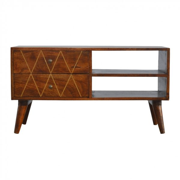 Mango Hill 2 Drawer Media Unit with Gold Wiring