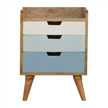 Mango Hill Bedside with Blue Hand Painted Cut Out Drawers