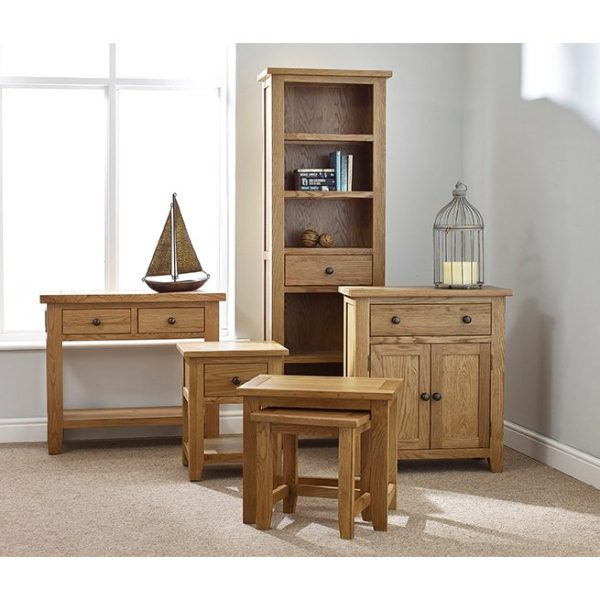 Mini Oxford Oak 2 Drawer Console Table