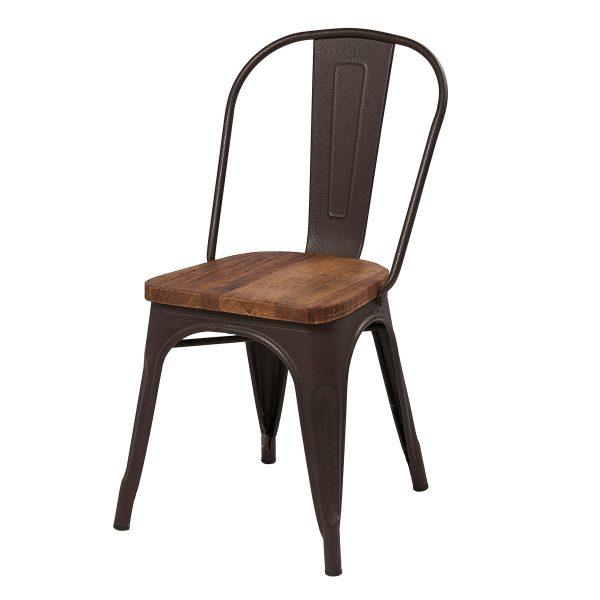 Liberty Bay Metal Chair Wood Seat