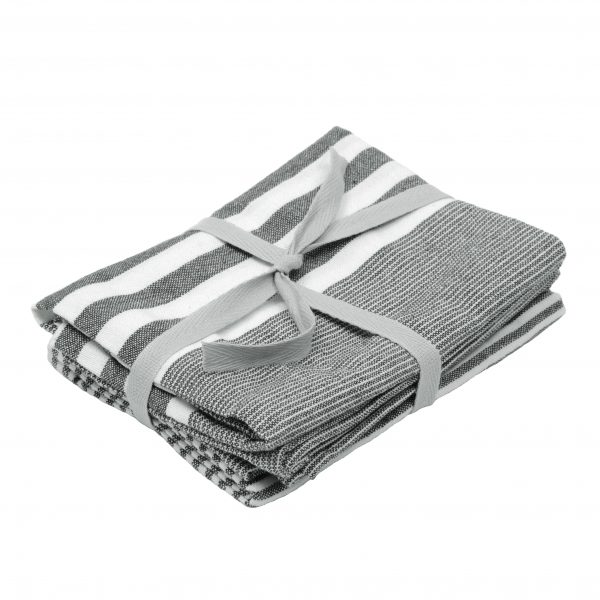 Dark Grey Stripe Tea Towels