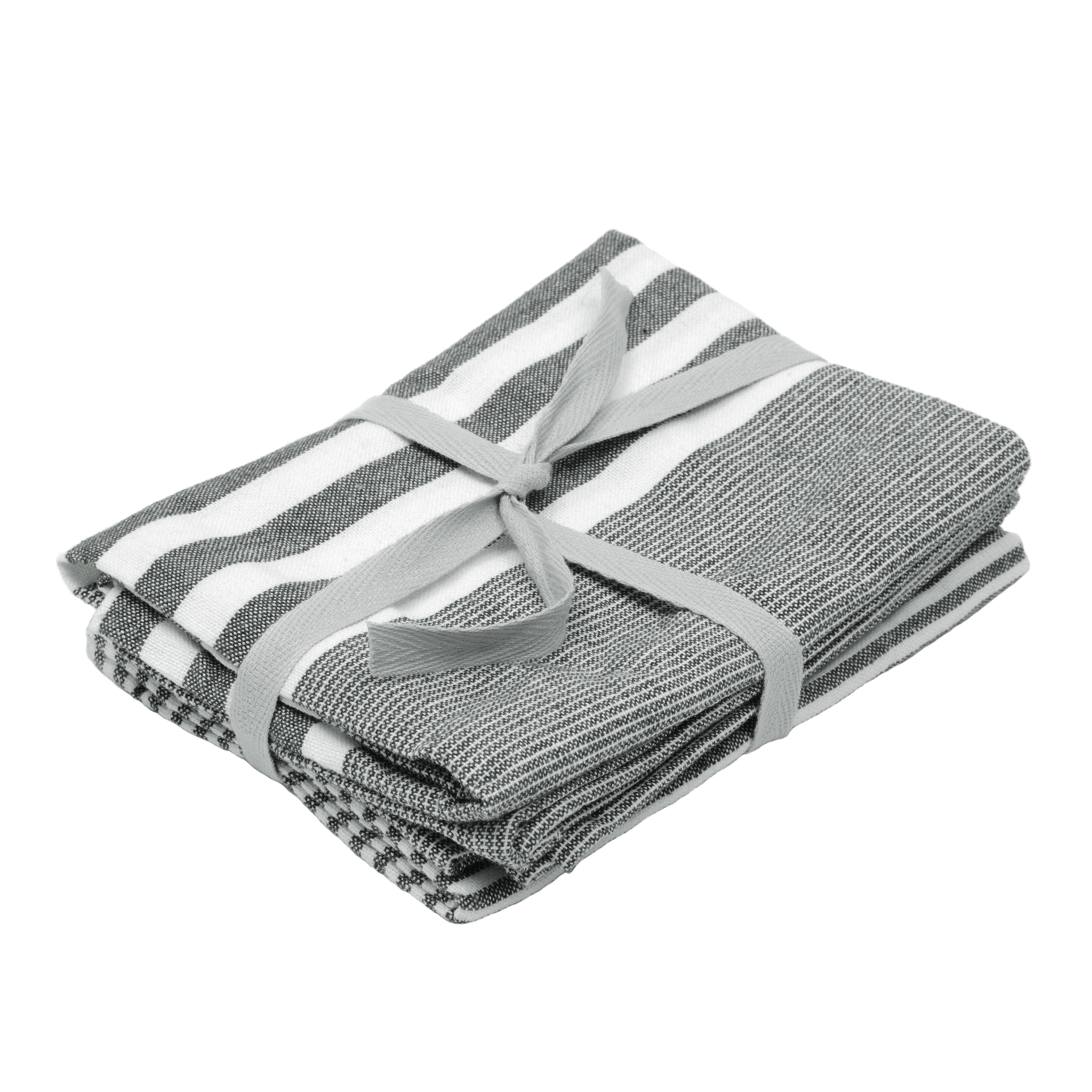 dark grey stripe tea towels kitchen tableware. Black Bedroom Furniture Sets. Home Design Ideas