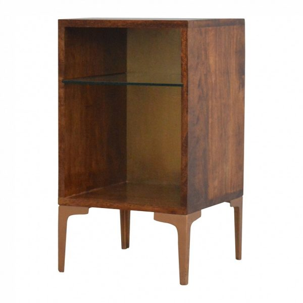 Mango Hill Bedside Table with Glass Shelf