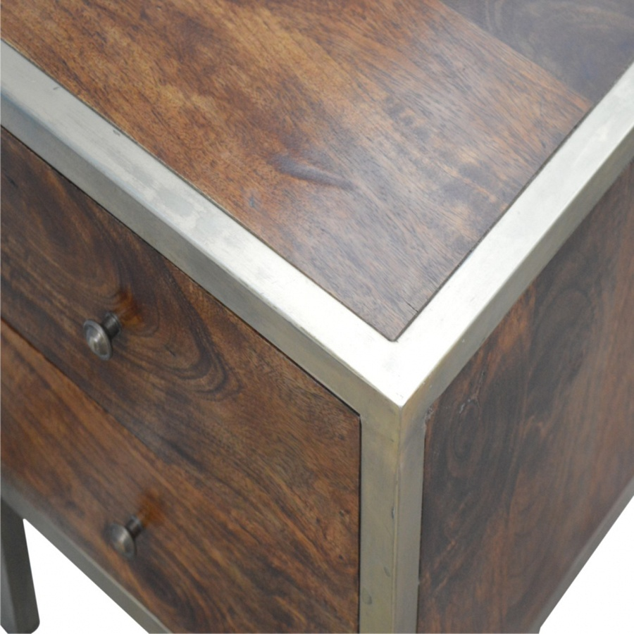 Mango Hill Iron Frame 2 Drawer Bedside Table