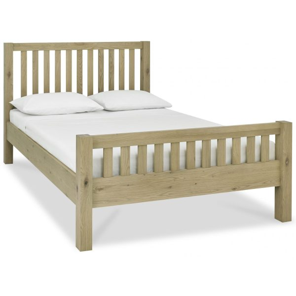 Turin Aged Oak Slatted High Footend Bedstead