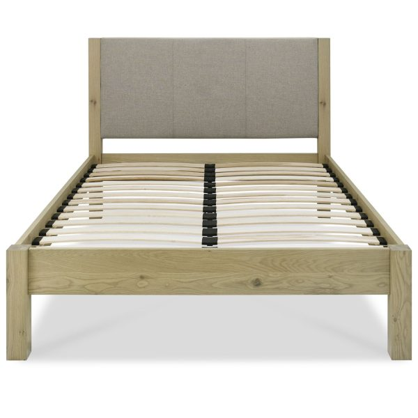 Turin Aged Oak Upholstered Low Footend Bedstead