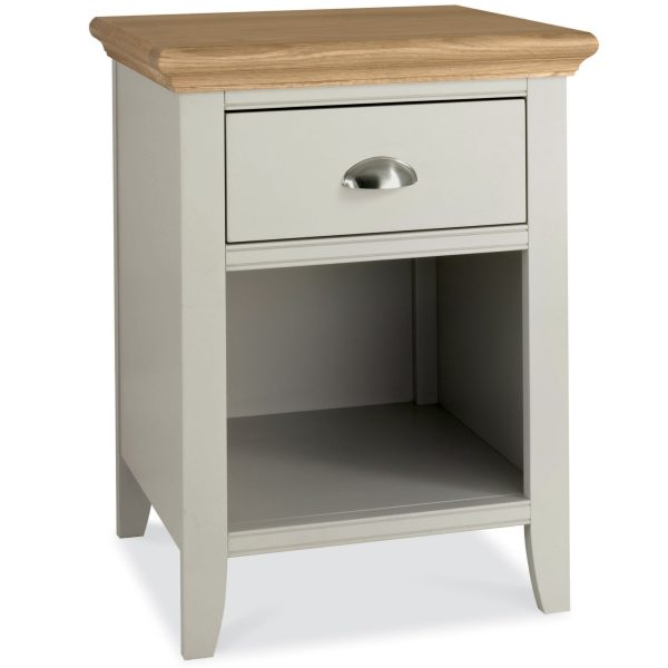 Hampstead Soft Grey & Pale Oak 1 Drawer Nightstand