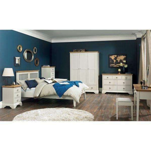Hampstead Soft Grey & Pale Oak 3 Drawer Nightstand