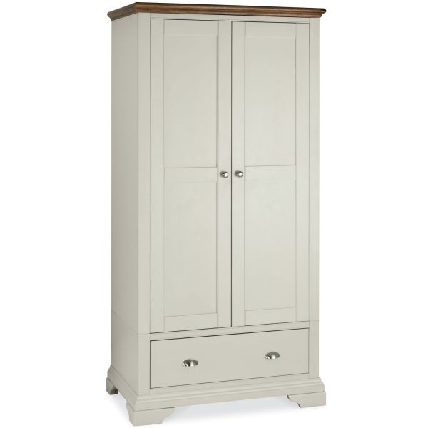 Hampstead Soft Grey & Walnut Double Wardrobe