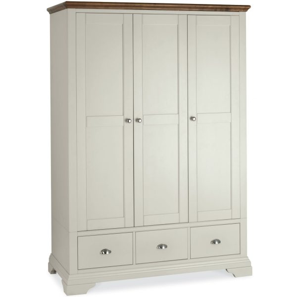 Hampstead Soft Grey & Walnut Triple Wardrobe