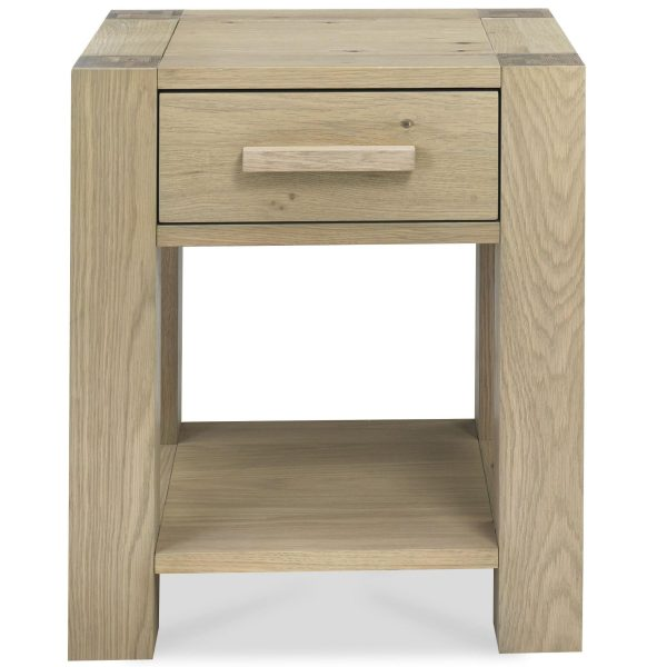 Turin Aged Oak Lamp Table with Drawer
